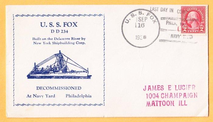 USS FOX DD-234 Decommissioning 1938 Naval Cover