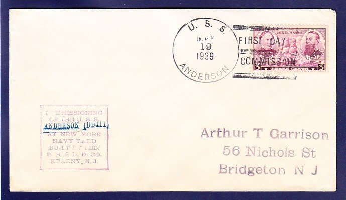 USS ANDERSON DD-411 Commissioning 1939 Naval Cover