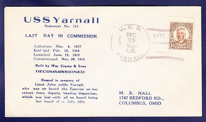 USS YARNALL DD-143 Decommissioning 1936 Naval Cover