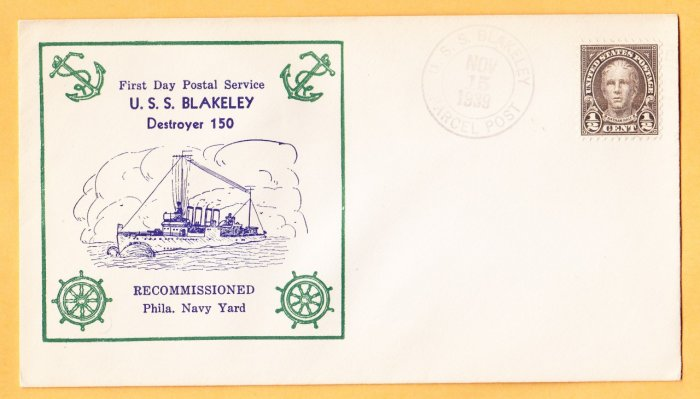 USS BLAKELEY DD-150 Recommissioning FDPS 1939 Naval Cover