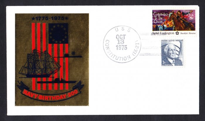 USS CONSTITUTION Navy Day Foil Cachet Naval Cover