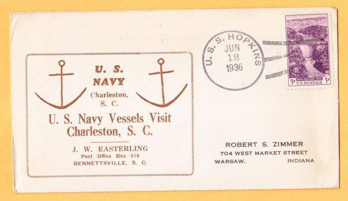 USS HOPKINS DD-249 Charleston SC 1936 Naval Cover