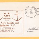 USS HOPKINS DD-249 Charleston SC 1936 Naval Cover