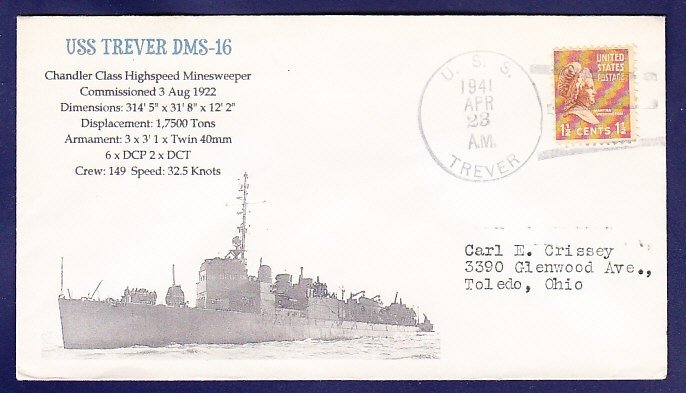 USS TREVER DMS-16 1941 Naval Cover MHcachets ONLY 1 MADE
