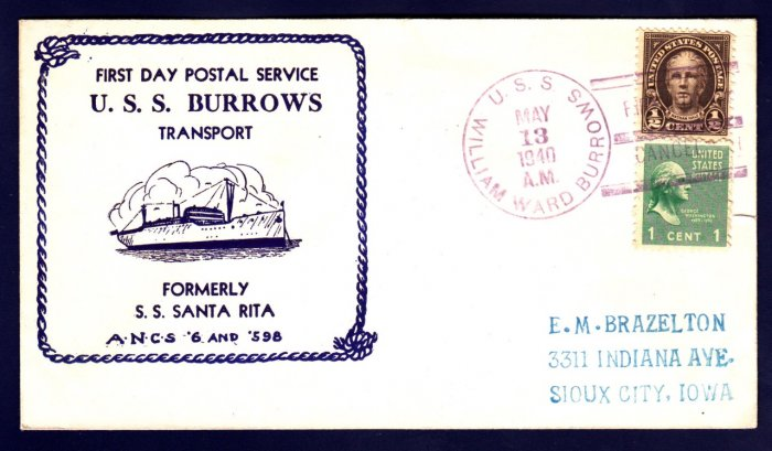 USS BURROWS AP-6 FDPS 1940 Naval Cover