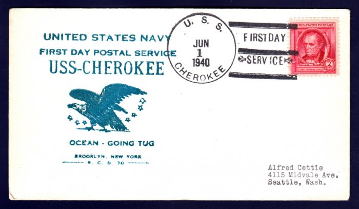 USS CHEROKEE AT-66 FDPS 1940 Naval Cover