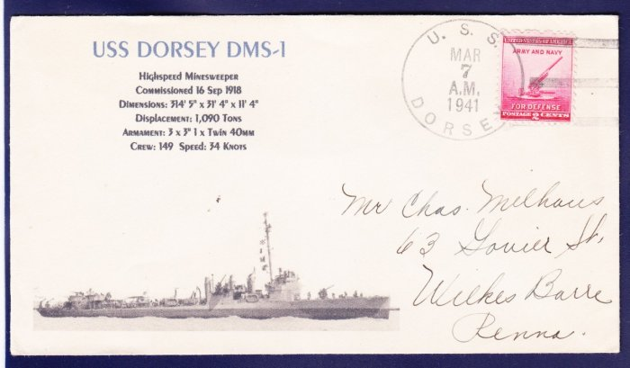 USS DORSEY DMS-1 1941 Naval Cover MHcachets ONLY 1 MADE
