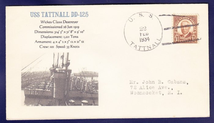 USS TATTNALL DD-125 1934 Naval Cover MHcachets ONLY 1 MADE