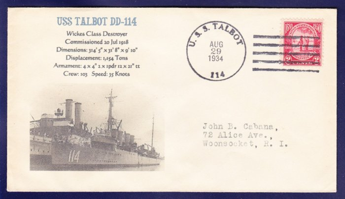 USS TALBOT DD-114 FANCY CANCEL 1934 Naval Cover MHcachets ONLY 1 MADE