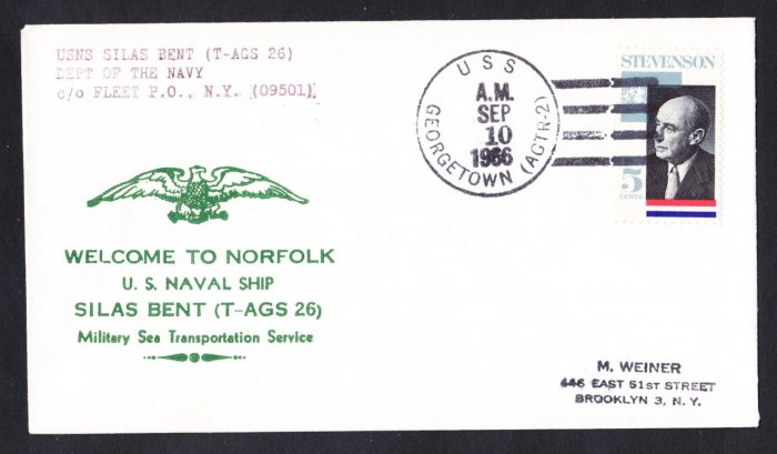USNS SILAS BENT T-AGS-26 Norfolk VA Naval Cover