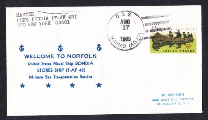 USNS BONDIA T-AF-42 Norfolk VA Naval Cover