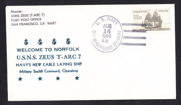USNS ZEUS T-ARC-7 Norfolk VA Naval Cover