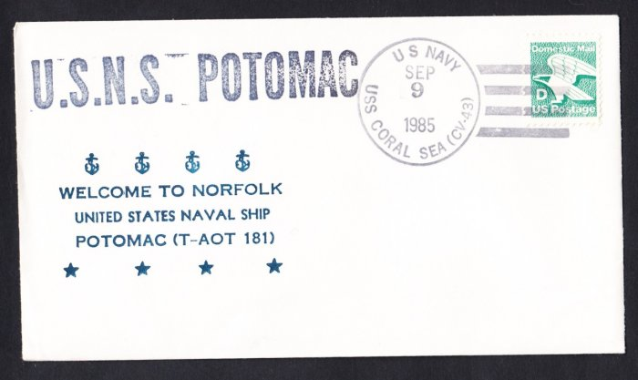 USNS POTOMAC T-AOT-181 Norfolk VA Naval Cover