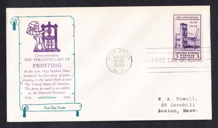 #857 AMERICAN PRINTING Stamp FDC