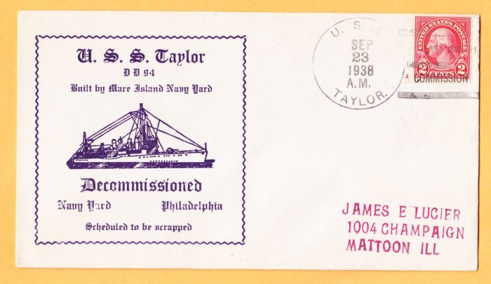 USS TAYLOR DD-94 Decommissioning 1938 Naval Cover