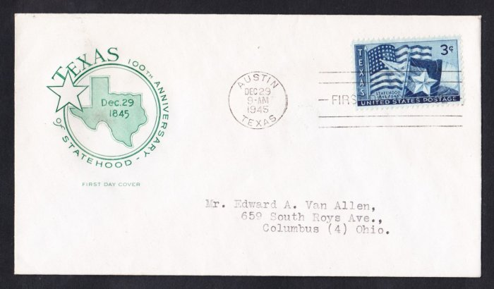 #958 TEXAS STATEHOOD Stamp FDC