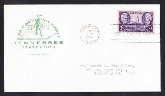#941 TENNESSEE STATEHOOD Stamp FDC