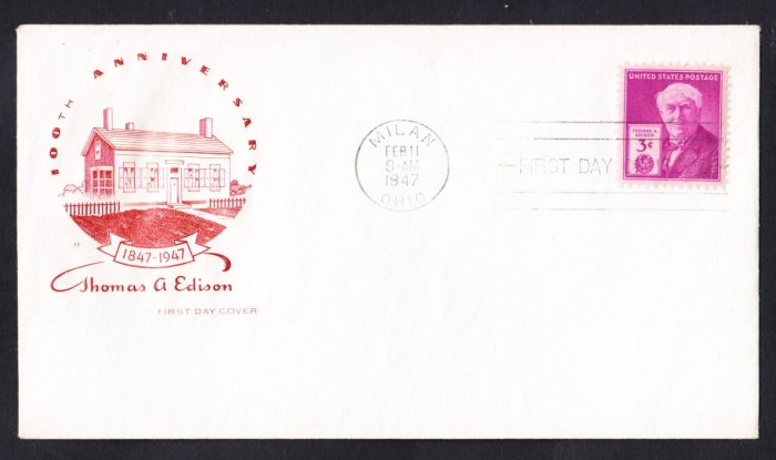 #945 THOMAS EDISON Stamp FDC