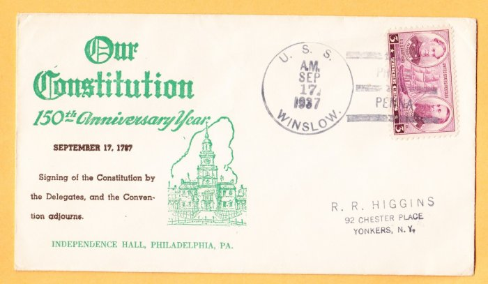 USS WINSLOW DD-359 US Constitution Anniversary 1937 Naval Cover
