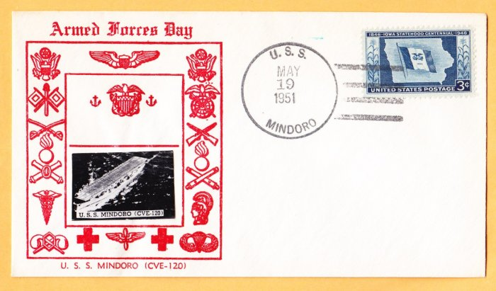 USS MINDORO CVE-120 Crosby Type Photo Cachet Naval Cover