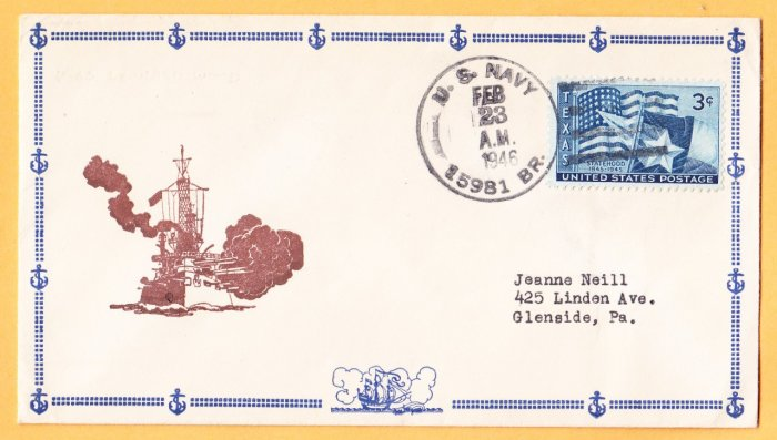 USS LEONARD WOOD AP-25 BR# Cancel 1946 Naval Cover