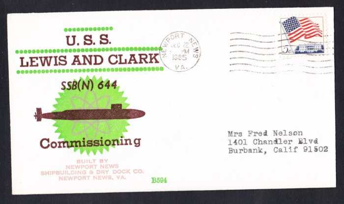 Submarine USS LEWIS & CLARK SSBN-644 Commissioning BECK #B594 Naval Cover
