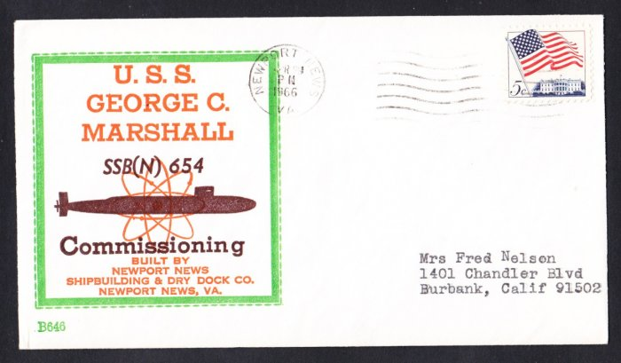 Submarine USS GEORGE C. MARSHALL SBN-654 Commissioning BECK #B646 Naval Cover