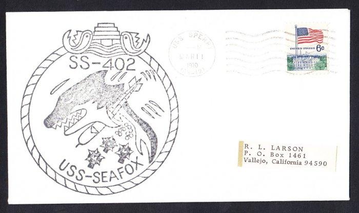 USS SEAFOX SS-402 USS Sperry 1970 Naval Submarine Cover