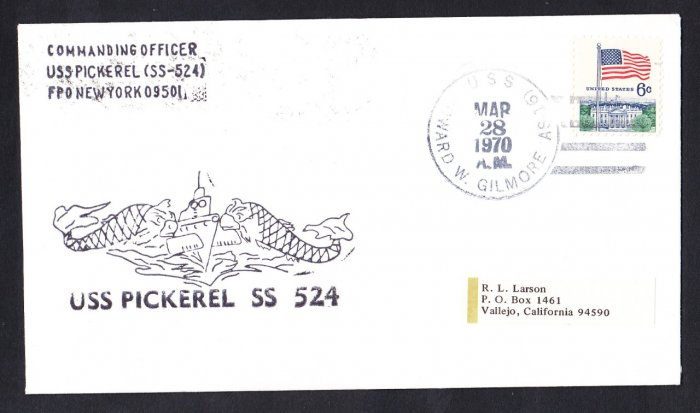 USS PICKEREL SS-524 USS Howard Gilmore 1970 Naval Submarine Cover