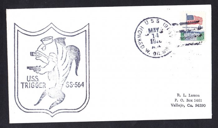 USS TRIGGER SS-564 USS Howard Gilmore 1970 Naval Submarine Cover