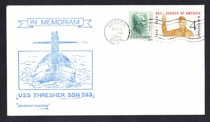 USS THRESHER SSN-593 1st Anniversary of Loss 1964 Naval Submarine Cover
