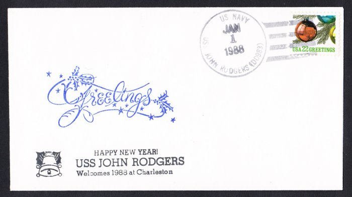 USS JOHN RODGERS DD-983 New Year Day Naval Cover