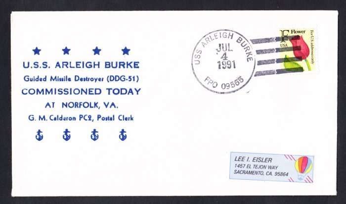 USS ARLEIGH BURKE DDG-51 Commissioning Naval Cover