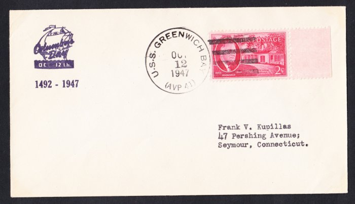 USS GREENWICH BAY AVP-41 Columbus Day 1947 Naval Cover
