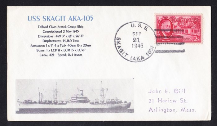 USS SKAGIT AKA-105 1946 Naval Cover MHCachets ONLY 1 MADE