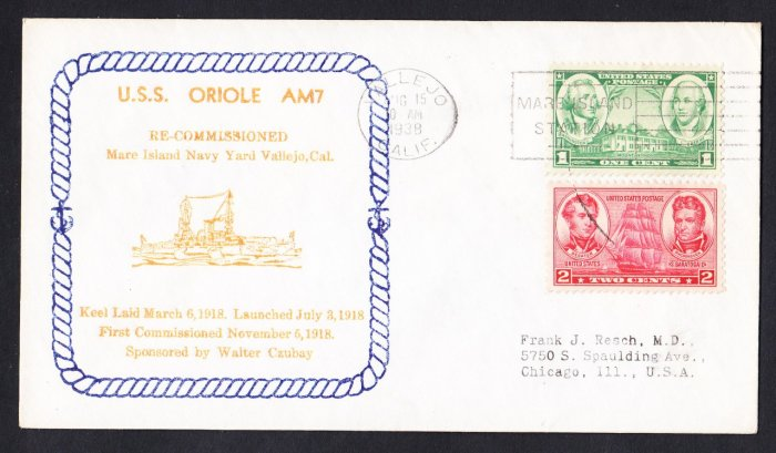 USS ORIOLE AM-7 Recommissioning 1938 Naval Cover