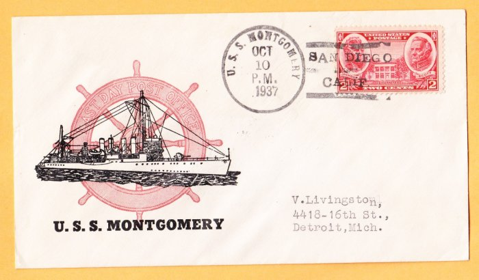 USS MONTGOMERY DM-17 San Diego 1937 Naval Cover LOST WWII
