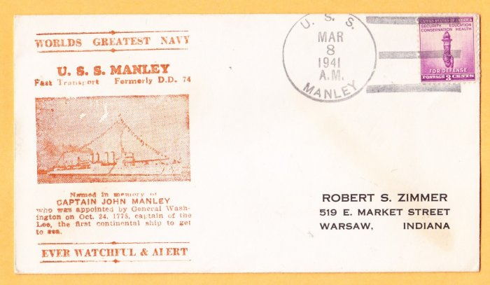 USS MANLEY APD-1 Photo Cachet 1941 Naval Cover