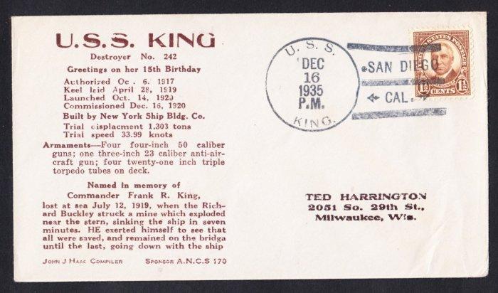 USS KING DD-242 15th Anniversary 1935 Naval Cover