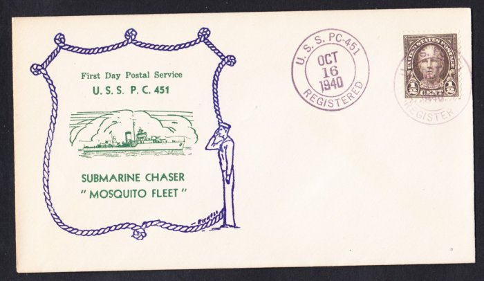 USS PC-451 Submarine Chaser FDPS 1940 Naval Cover