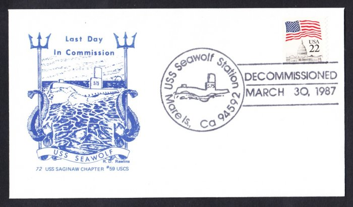 USS SEAWOLF SSN-575 Decommissioning Naval Submarine Cover