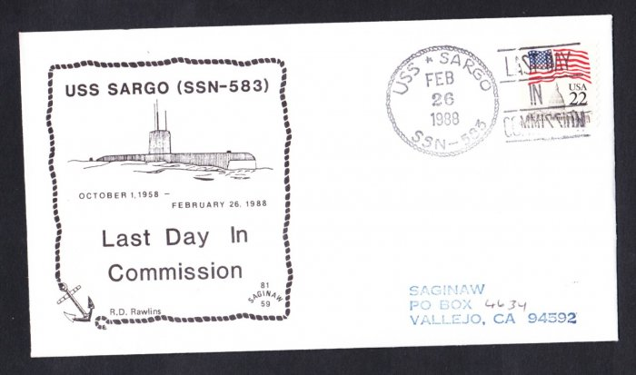 USS SARGO SSN-583 Decommissioning Naval Submarine Cover