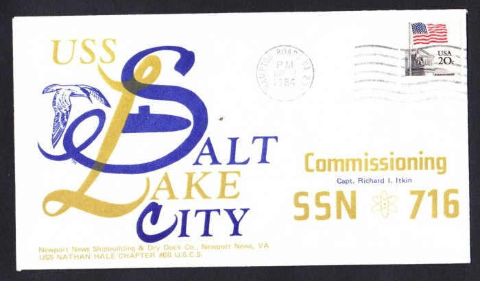 USS SALT LAKE CITY SSN-716 Commissioning Naval Submarine Cover