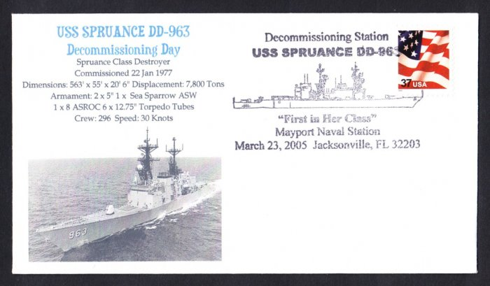 USS SPRUANCE DD-963 Decommissioning Naval Cover MHcachets ONLY 2 MADE