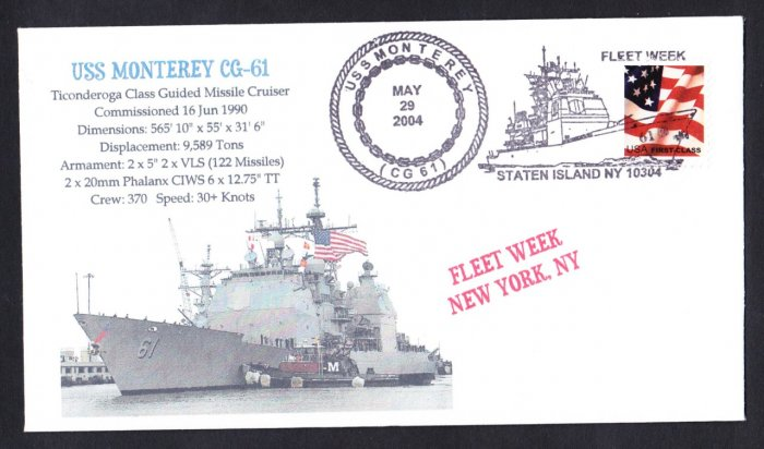 USS MONTEREY CG-61 Fleet Week NY Naval Cover MHcachets ONLY 1 MADE