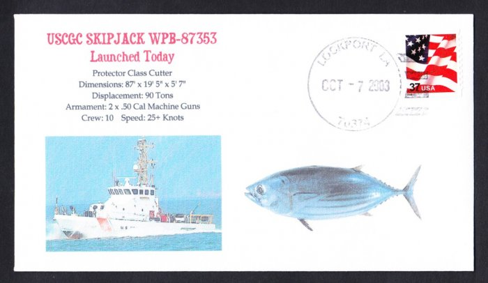 USCGC SKIPJACK WPB-87353 Launching USCG Naval Cover MHcachets ONLY 5 MADE