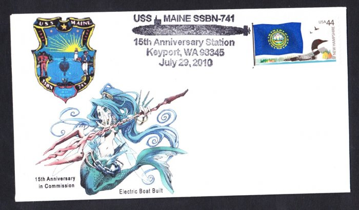 USS MISSOURI SSN-780 15th Anniversary Cover Monster MERMAID Cachet Naval Submarine Cover