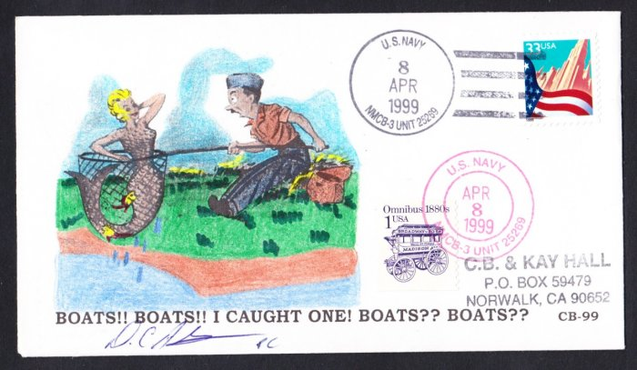 US NAVY SEABEES NMCB-3 Hand Painted Mermaid Cachet Naval Cover