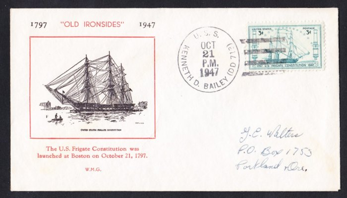 #951 USS CONSTITUTION Stamp UO First Day Cover USS BAILEY DD-713
