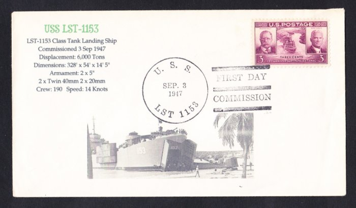 USS LST-1153 Fancy Cancel Commissioning 1947 Naval Cover MHcachets ONLY 1 MADE